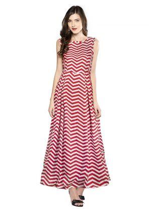 Maroon Cap Sleeve Long Western Gown