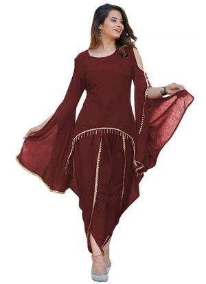 Maroon Casual Ladies Dhoti Patiala Suit