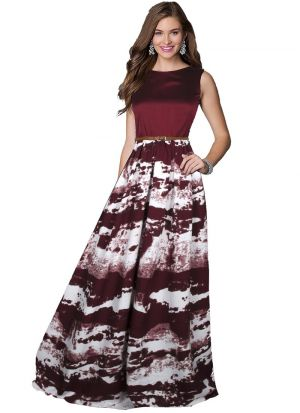 Maroon Color Sleevless Long Western Gown