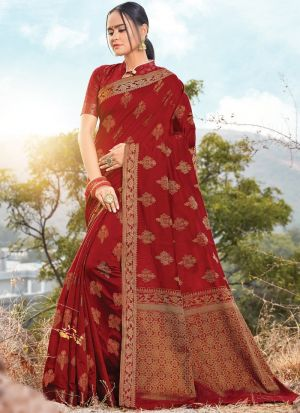 Maroon Color Traditional South Indian Wedding Cotton Handloom Saree