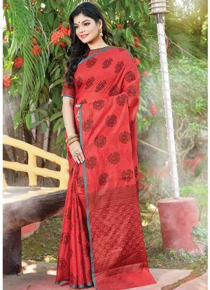 Maroon Color Women Wedding And Partywear Cotton Handloom Saree