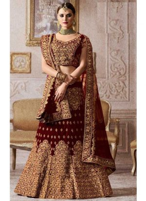 Maroon Designer Exclusive Bridal Lehenga Choli In Velvet Fabric