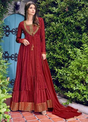 Maroon Designer Suit For Party In Chiffon Fabric