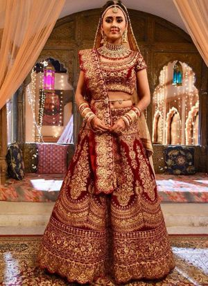 Maroon Designer Wedding Wear Pure Velvet Lehenga Collection