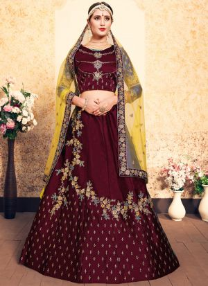 Maroon Embroidered Designer Lehenga Choli For Wedding