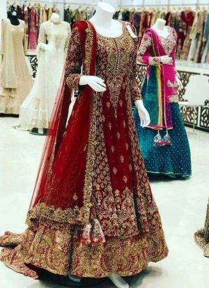 Maroon Faux Georgette Bridal Lehenga Choli For Wedding