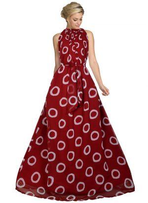 Maroon Georgette Western Style Gown