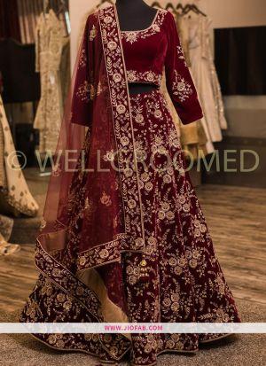 Maroon Heavy Embroidery Malai Satin Fabric Festival Designer Lehenga With Bridal Net Dupatta