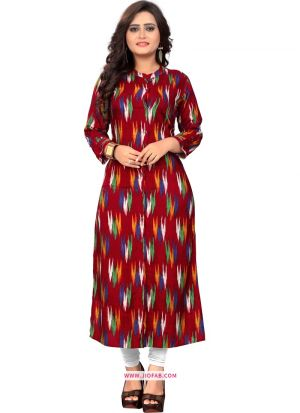 Maroon Printed Stylish Indian Traditional Ladies Long Kurti