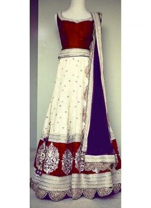 Maroon Pure Georgette Wedding Wear Indian Designer Bridal Lehenga Collection