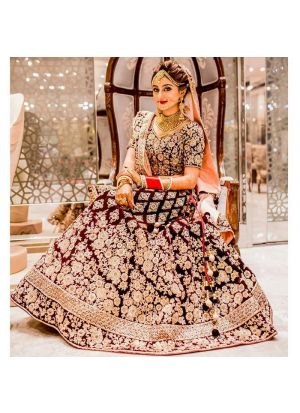 Maroon Pure Velvet Royal Looks Bridal Lehenga Choli With Mono Net Dupatta