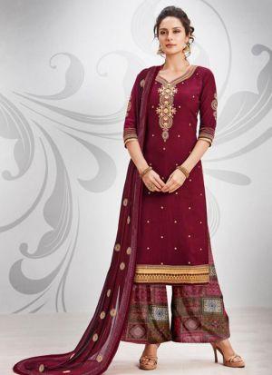 Maroon Ruby Silk Cotton Designer Palazzo Salwar Suit