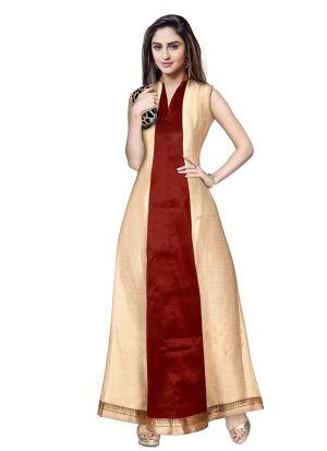 Maroon Sleevless Long Western Gown