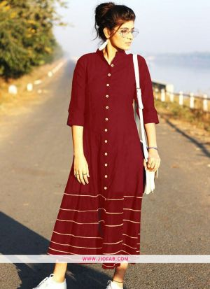 Maroon Summer Highway Slub Cotton Heavy Quality Kurti
