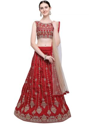 Maroon Taffeta Silk Traditional Lehenga Choli