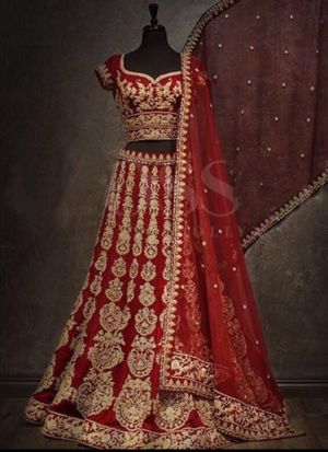 Maroon Velvet Royal Looks Bridal Lehenga Choli With Mono Net Dupatta