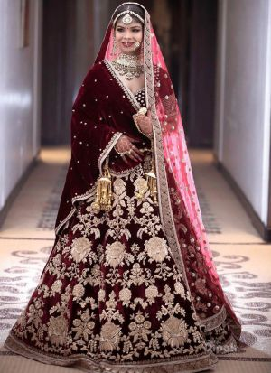 Maroon Velvet Silk Bridal Lehenga Choli For Wedding