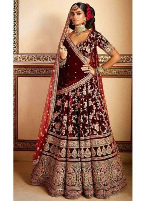 Maroon Velvet Silk Bridal Lehenga Choli With Velvet Silk Dupatta
