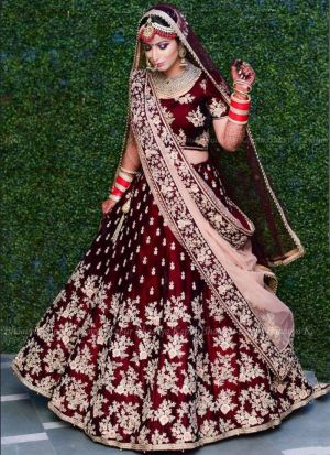 Maroon Velvet Silk Royal Looks Bridal Lehenga Choli With Mono Net Dupatta