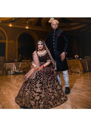Maroon Velvet Silk Wedding Wear Indian Designer Bridal Lehenga Collection
