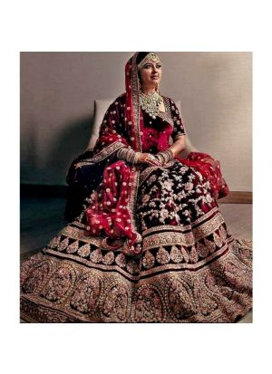 Maroon Wedding Bridal Lehenga Choli In Velvet Fabric