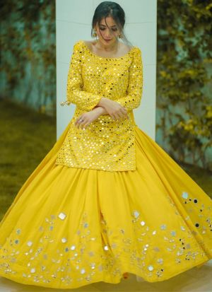Marvellous Paper Mirror Work Yellow Georgette Lehenga Choli