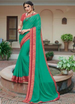 Marvellous Rama Chiffon Saree For Party