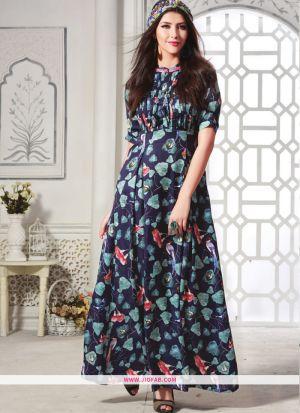 Maslin Cotton Purple Color Designer Anarkali Gown Collection