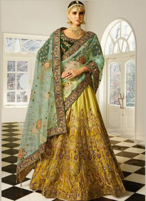 Mehandi Naylon Silk Designer Lehenga Choli With Thread Work SN 158