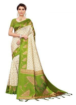 Mehendi Art Silk Printed Latest Traditional Saree