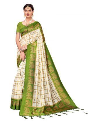 Mehendi Printed Casual Saree