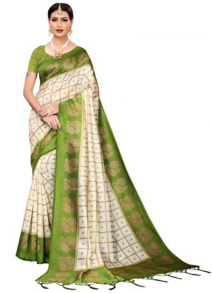 Mehendi Printed Indian Saree
