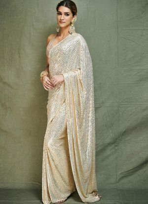 Milky White Color Bollywood Designer Saree