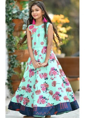Mint Green Silk Kids Stylish Gown