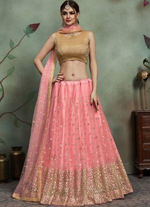 Most Demanded Baby Pink Designer Lehenga Choli In Soft Net Fabric