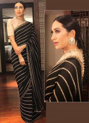 Most Demanded Black Georgette Fancy Thread Work Saree