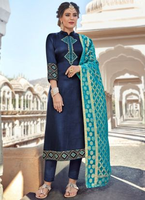 Most Demanded Blue Straight Cut Suit For Ceremony