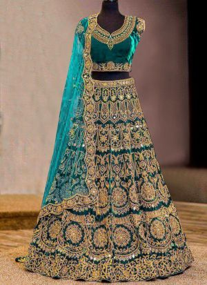 Most Demanded Firozi Bridal Pure Velvet Diamond Work Lehenga Choli With Mono Net Dupatta
