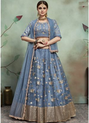 Most Demanded Grey Designer Lehenga Choli In Soft Net Fabric