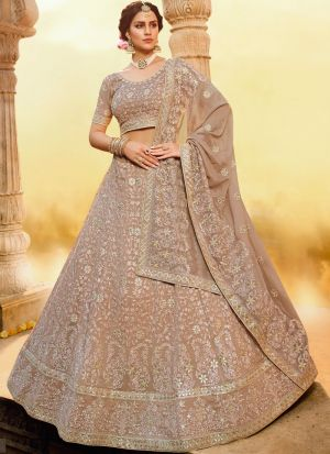 Most Demanded Light Brown Georgette Zarkan Work Lehenga Choli