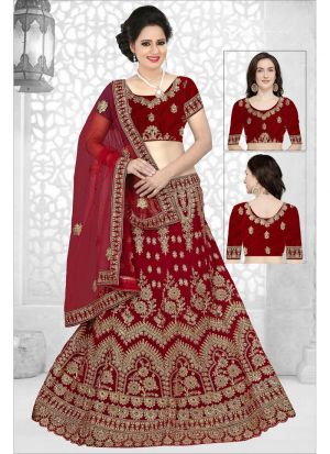 Most Demanded Maroon 9000 Velvet Lehenga Choli For Wedding