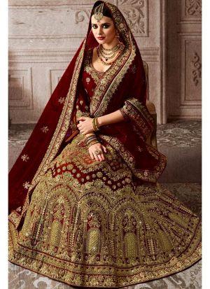 Most Demanded Maroon Bridal Kerala Silk Diamond Work Lehenga Choli With Mono Net Dupatta