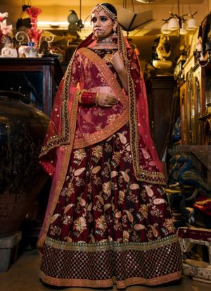 Most Demanded Maroon Tafetta Silk Lehenga Choli With Net Dupatta