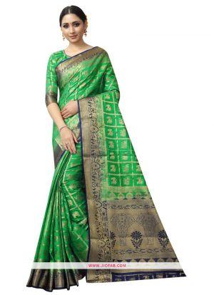 Most Demanded Parrot Naylon Weaving Saree