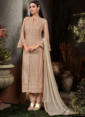 Most Demanded Party Wear Beige Straight Suit