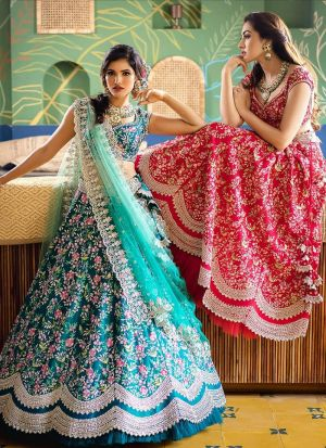 Most Demanded Peacock Green Zari Work Party Wear Lehenga Choli
