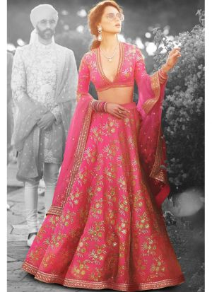 Most Demanded Pink Thai Silk Lehenga Choli With Thai Silk Dupatta