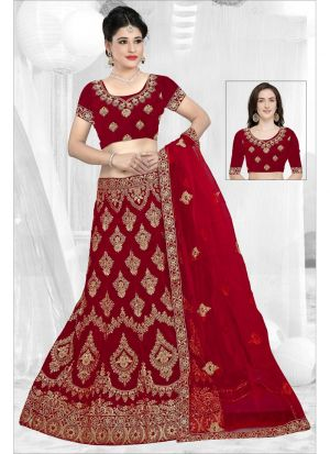 Most Demanded Red 9000 Velvet Lehenga Choli For Wedding
