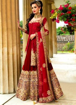 Most Demanded Red Bridal Banglori Silk Embroidered Lehenga Choli Koti Style With Mono Net Dupatta