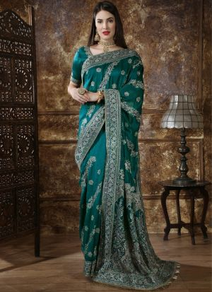 Most Demanded Teal Green Designer Saree In Silk Fabric